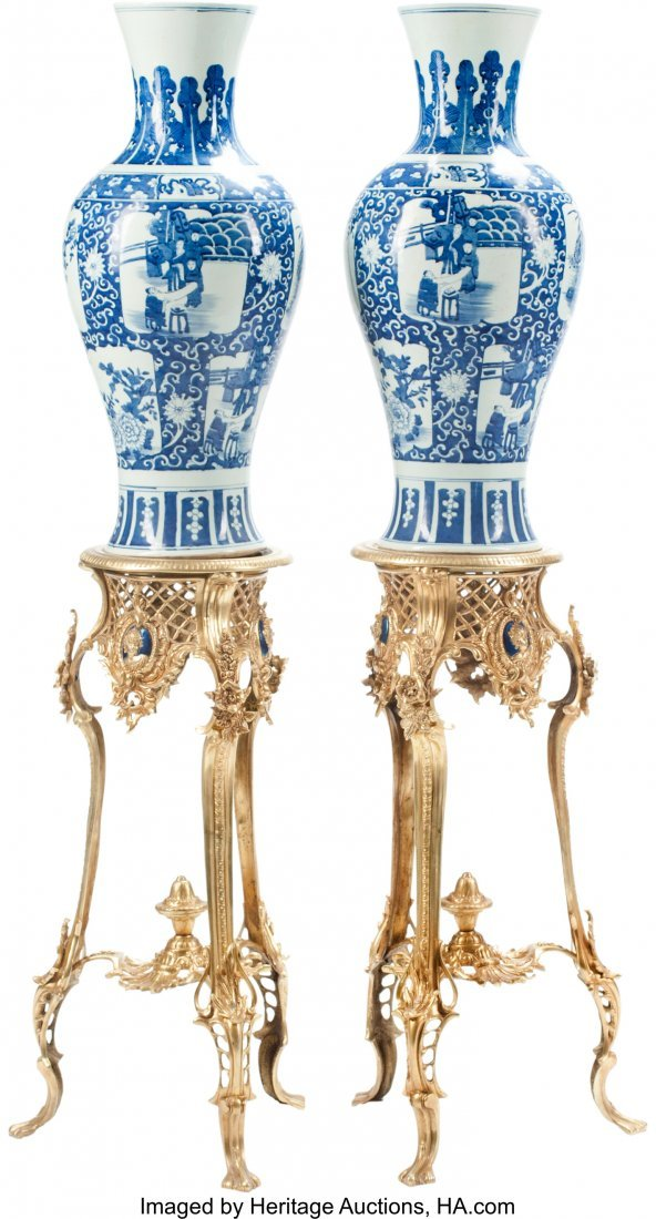 63359: A Pair of Chinese Blue and White Porcelain Balus
