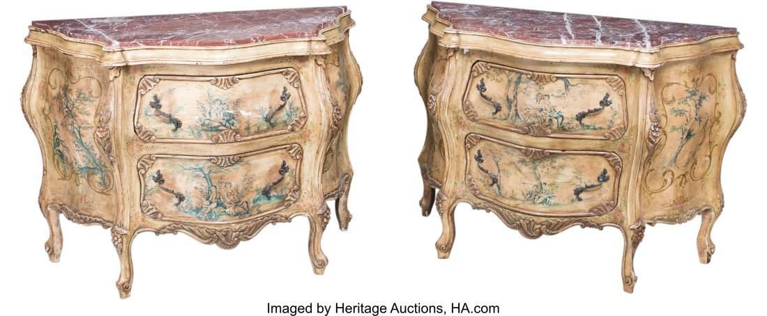 63192: A Pair of Venetian-Style Paint-Decorated Commode