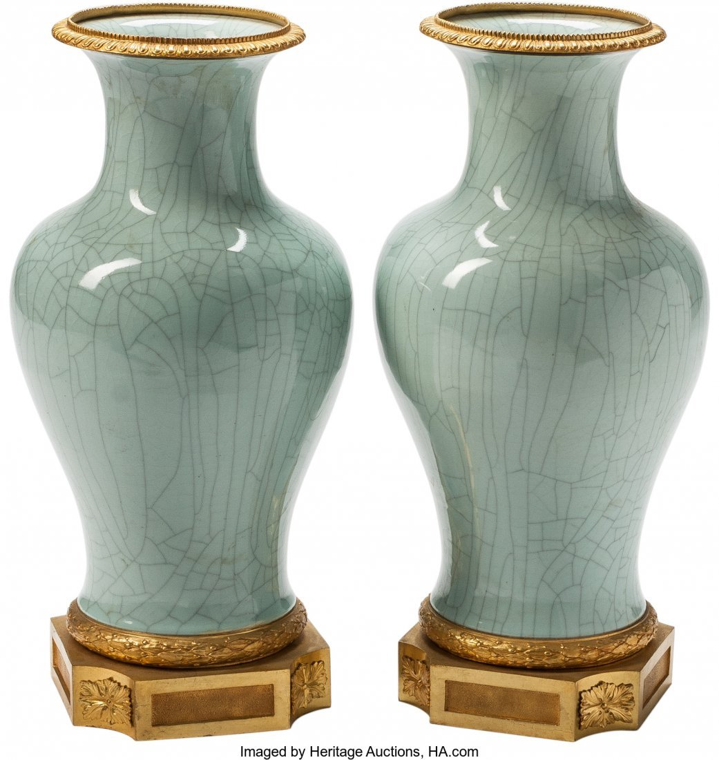 63364: A Pair of Louis XVI-Style Celadon Porcelain and