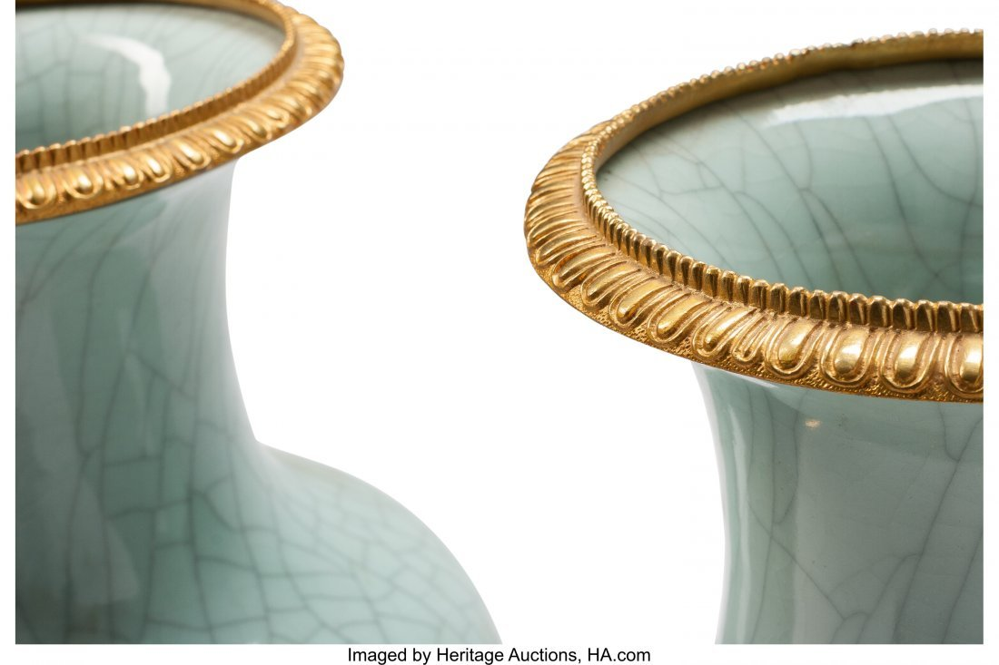 63364: A Pair of Louis XVI-Style Celadon Porcelain and  - 2