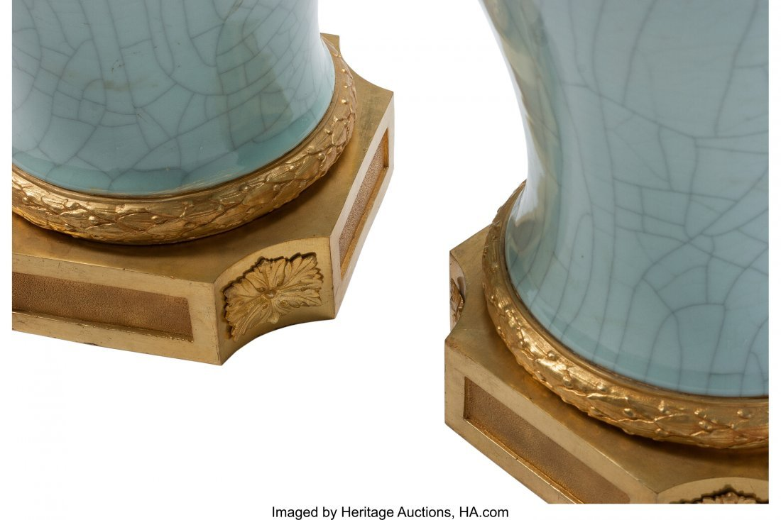63364: A Pair of Louis XVI-Style Celadon Porcelain and  - 3