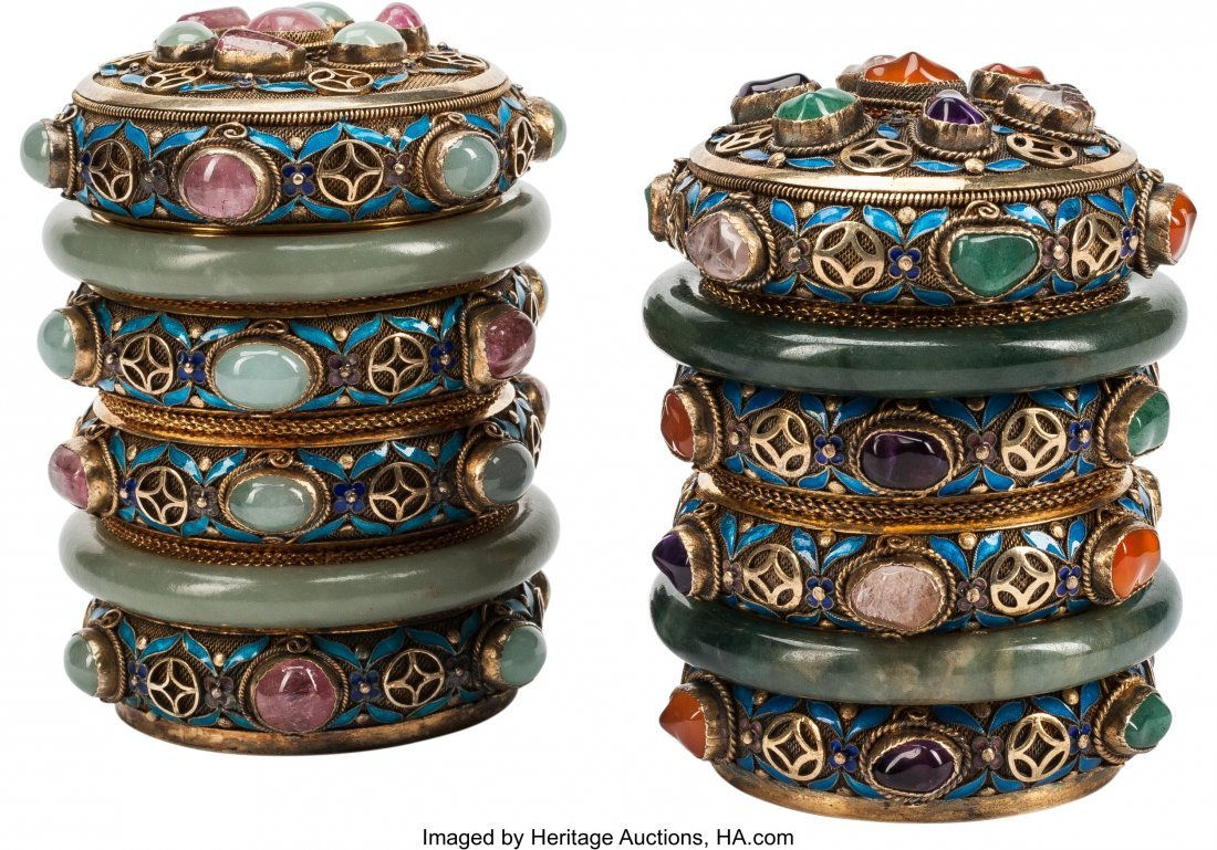 63366: A Pair of Chinese Semi-Precious Gem, Enamel, and