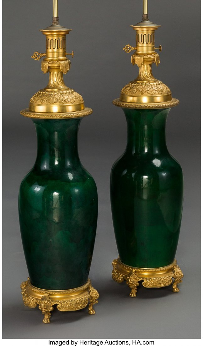 63367: A Pair of Louis XVI-Style Gilt Bronze and Green