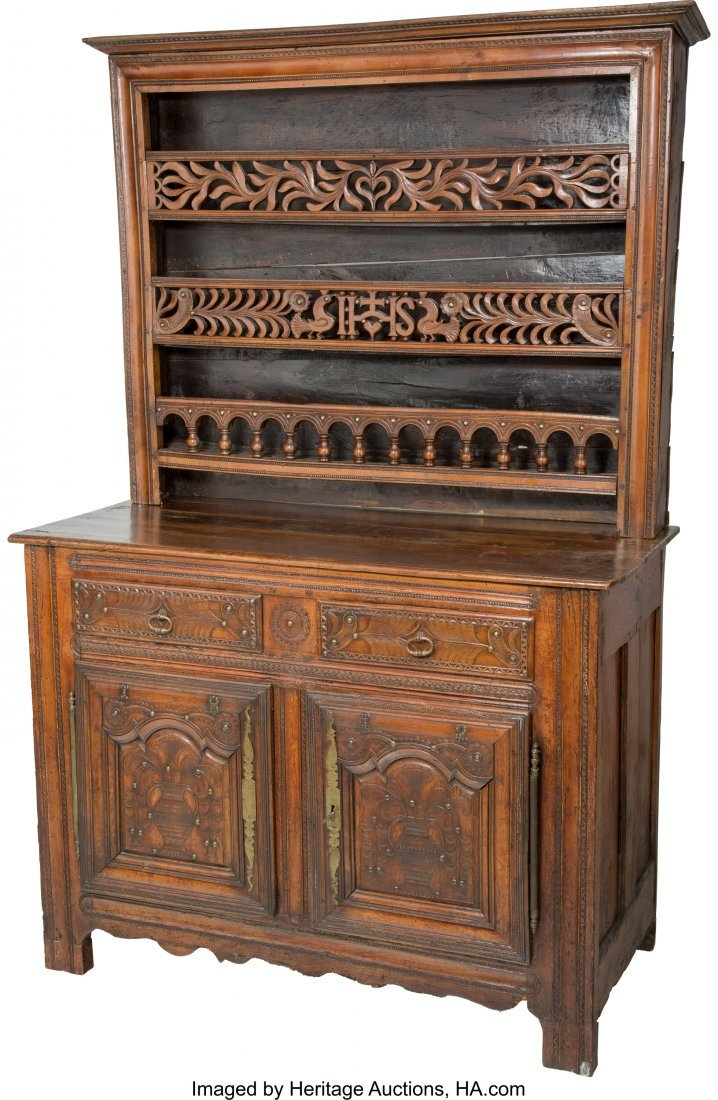 63201: A French Provincial Carved Walnut Buffet Cabinet