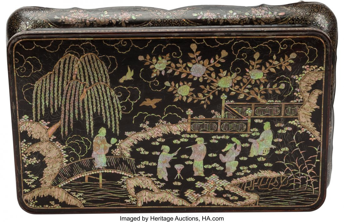 63368: A Chinese Lacquered and Mother-of-Pearl Inlaid L - 2
