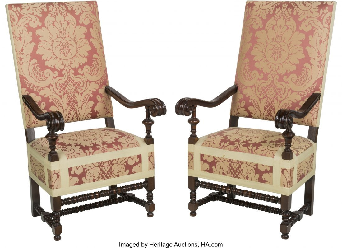 63206: A Pair of Louis XIV-Style Upholstered Mahogany T