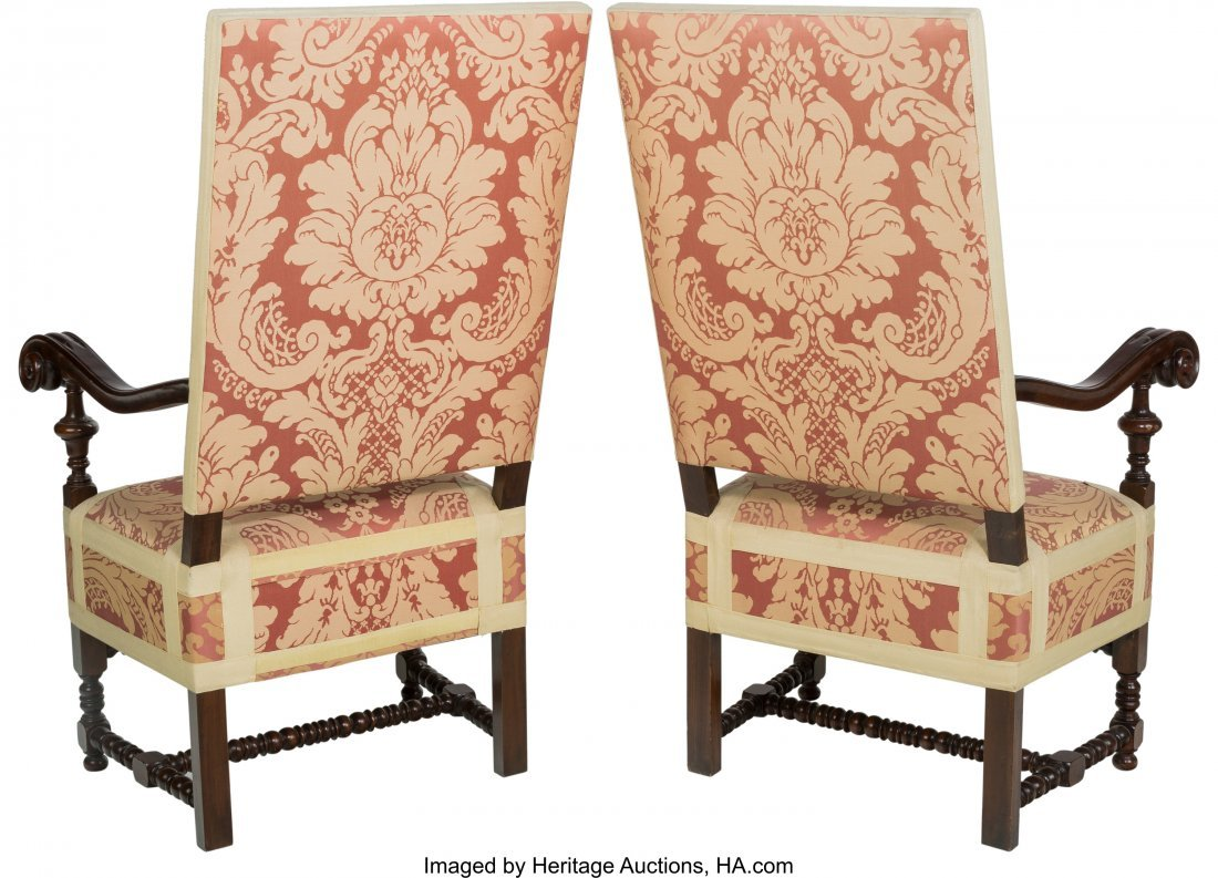63206: A Pair of Louis XIV-Style Upholstered Mahogany T - 2
