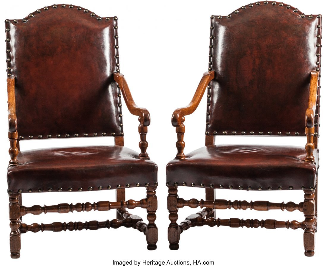 63207: A Pair of Renaissance Revival Leather Upholstere