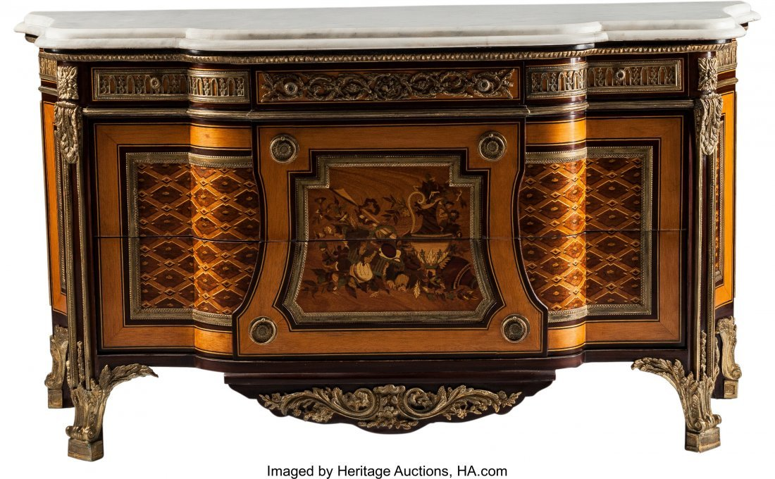 63371: A Régence-Style Marquetry Inlaid and Gilt Bronz