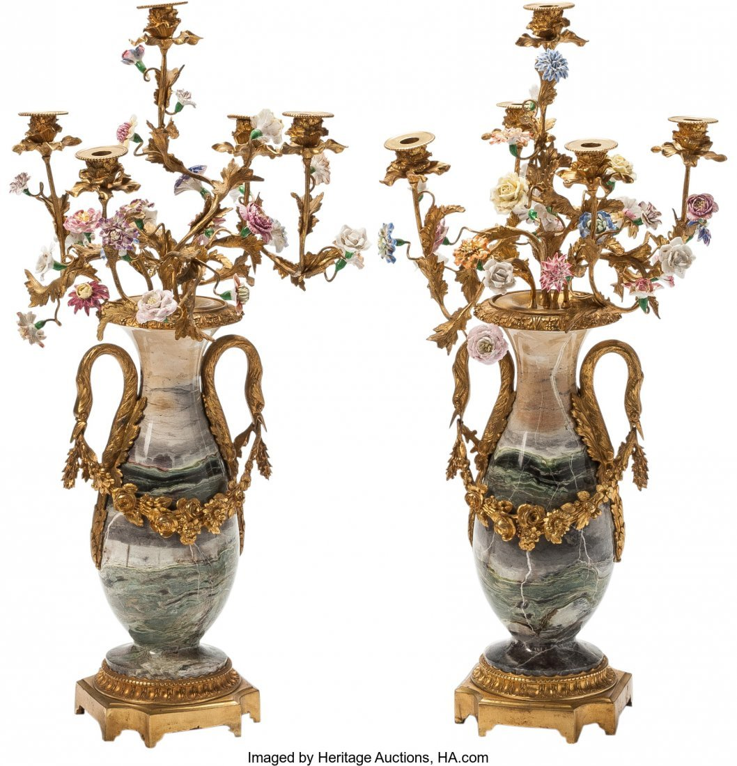 63372: A Pair of Empire-Style Gilt Bronze, Onyx, and Po