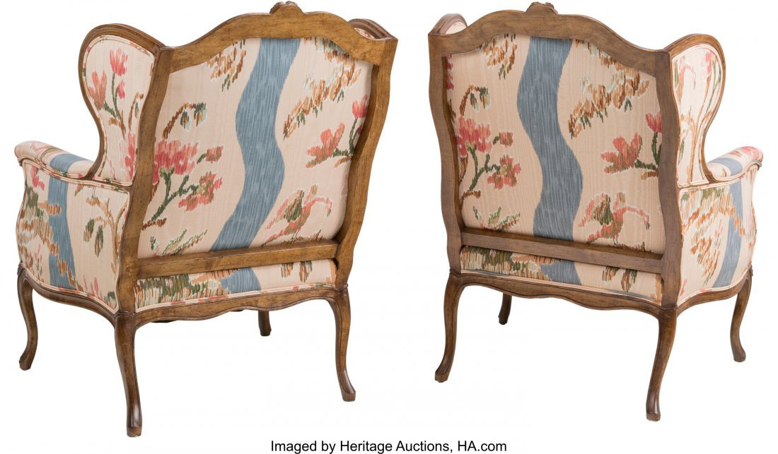 63373: A Pair of Louis XV-Style Wingback Armchairs with - 2