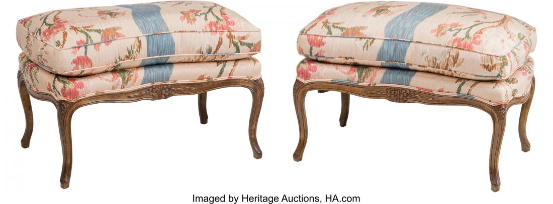 63373: A Pair of Louis XV-Style Wingback Armchairs with - 3