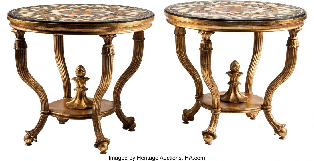 63211: A Pair of Venetian-Style Tables with Specimen Ma