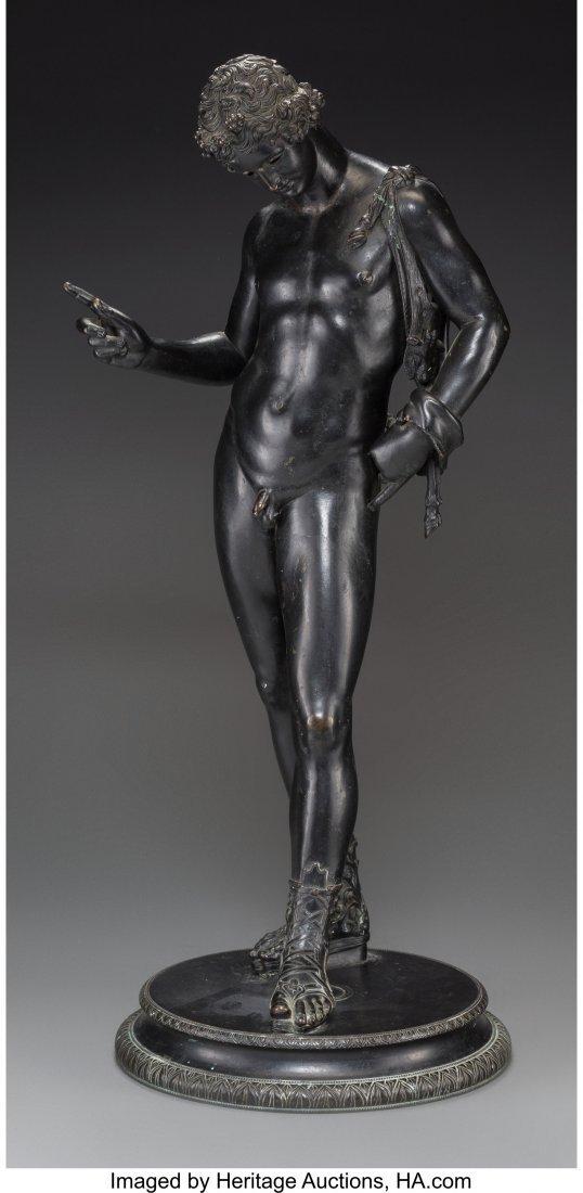 63216: A Patinated Grand Tour Bronze Figure of Narcissu