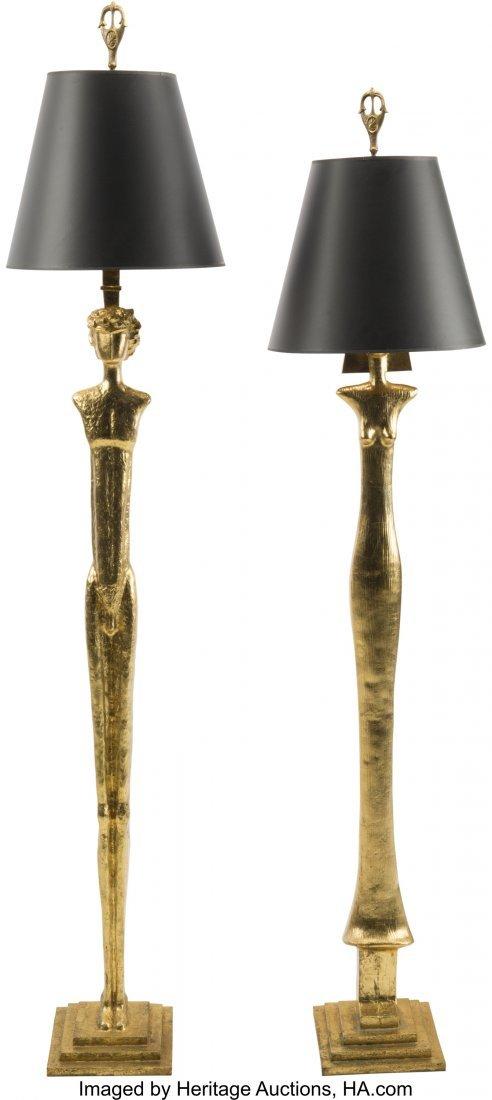 63304: Two Giacometti-Style Gilt Bronze Figural Floor L