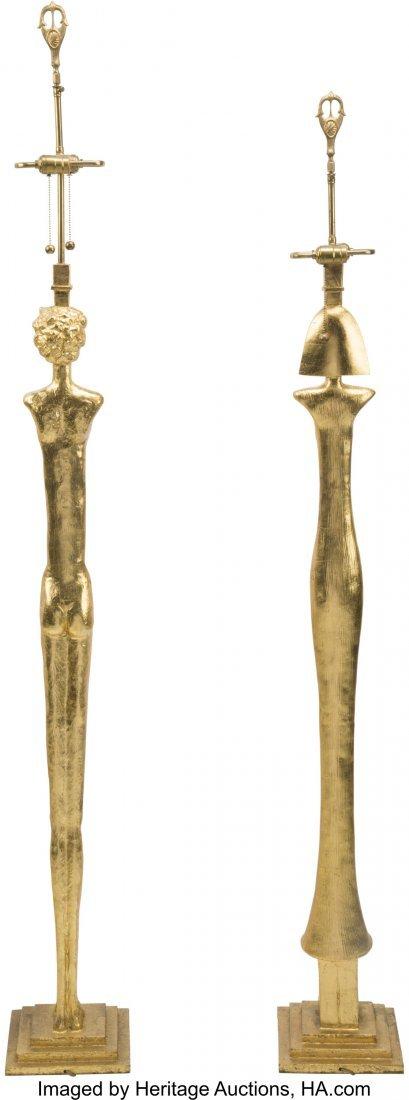63304: Two Giacometti-Style Gilt Bronze Figural Floor L - 2