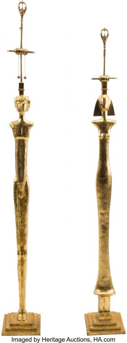 63304: Two Giacometti-Style Gilt Bronze Figural Floor L - 3