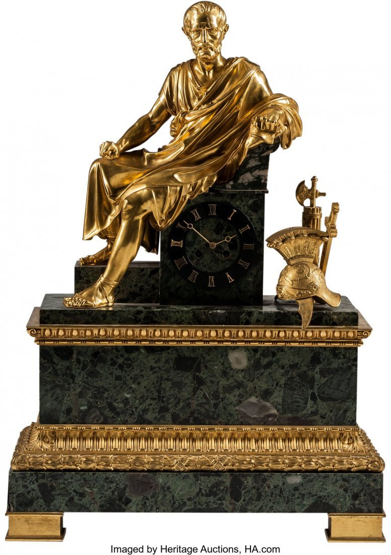 63218: A French Empire-Style Gilt Bronze-Mounted Clock,
