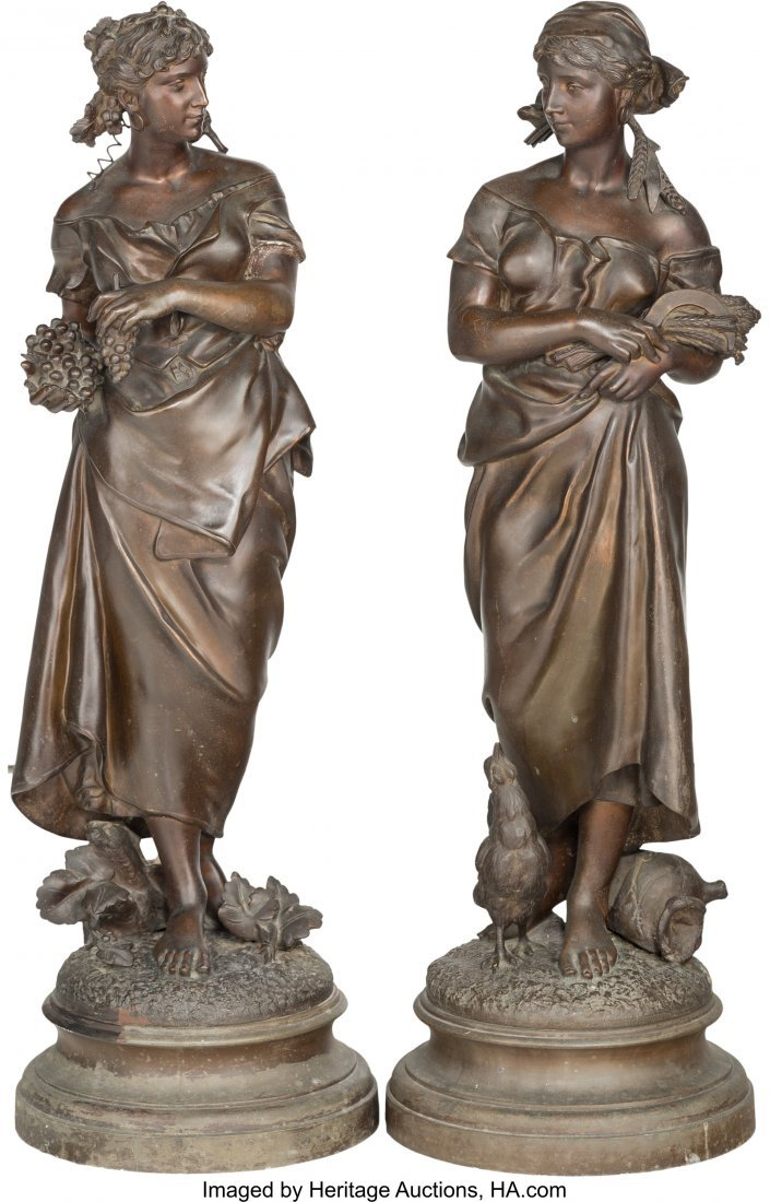 63379: A Pair of Large Bronzed Metal Figures After Pier