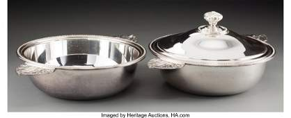63135: Two Christofle Perles Pattern Silver-Plated Serv