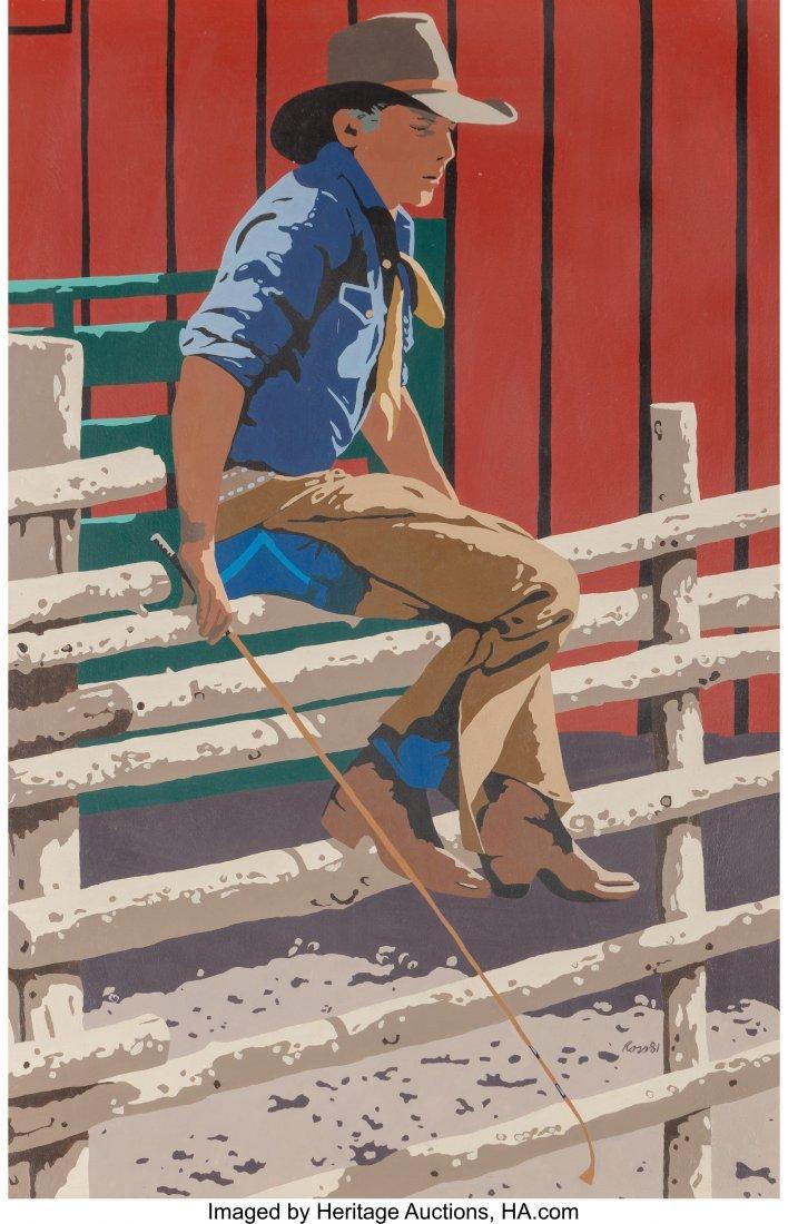 63051: Thom Ross (American, b. 1953) Cowboy on a Fence,