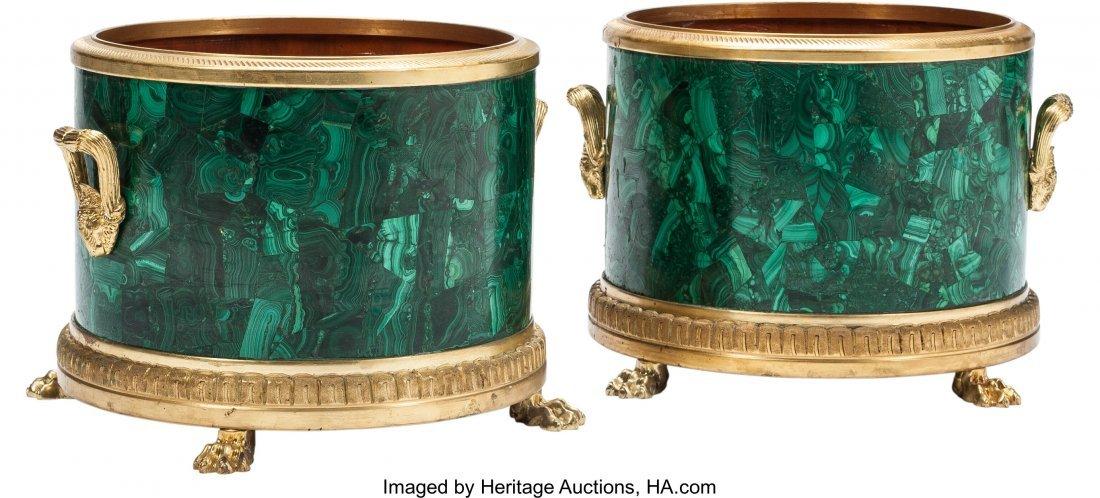 63221: A Pair of Louis XVI-Style Malachite and Gilt Bro