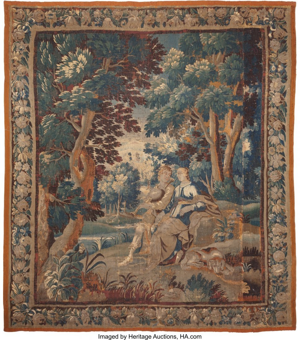 63381: A Flemish Verdure Tapestry, 18th century with la