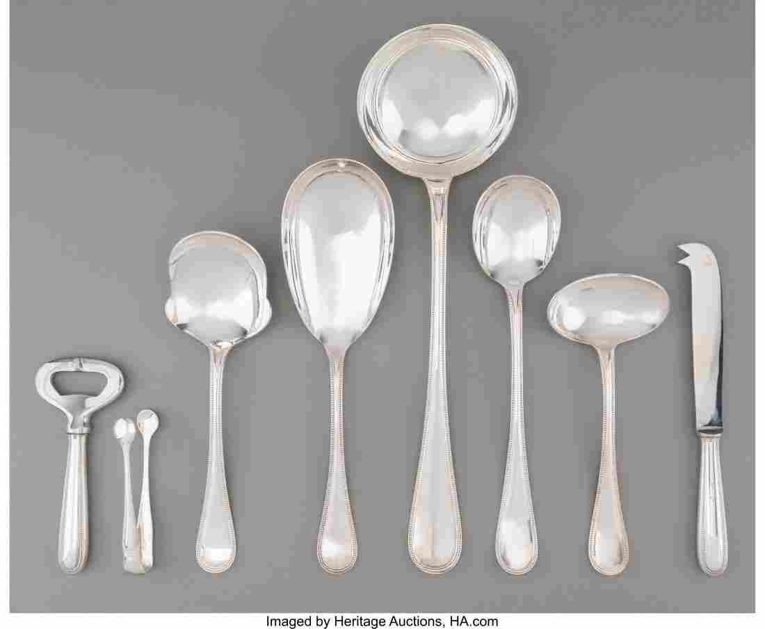 63137: An Eight-Piece Christofle Perles Pattern Silver-