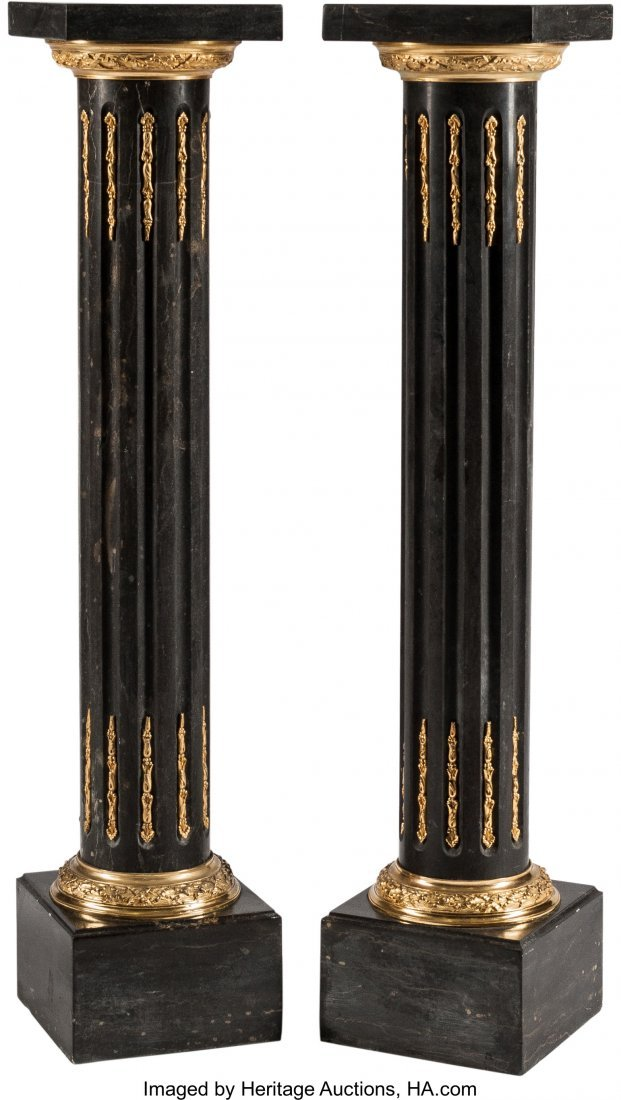 63222: A Pair of Louis XVI-Style Marble and Gilt Bronze