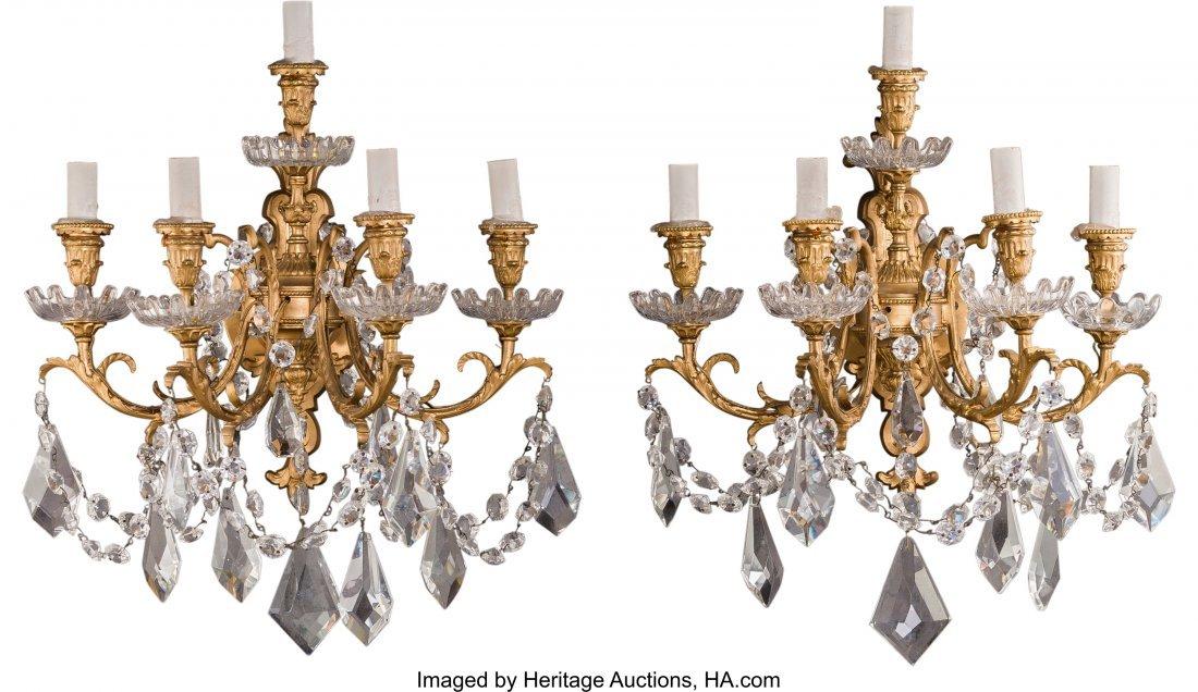 63383: A Pair of Five-Light Gilt Bronze and Glass Sconc