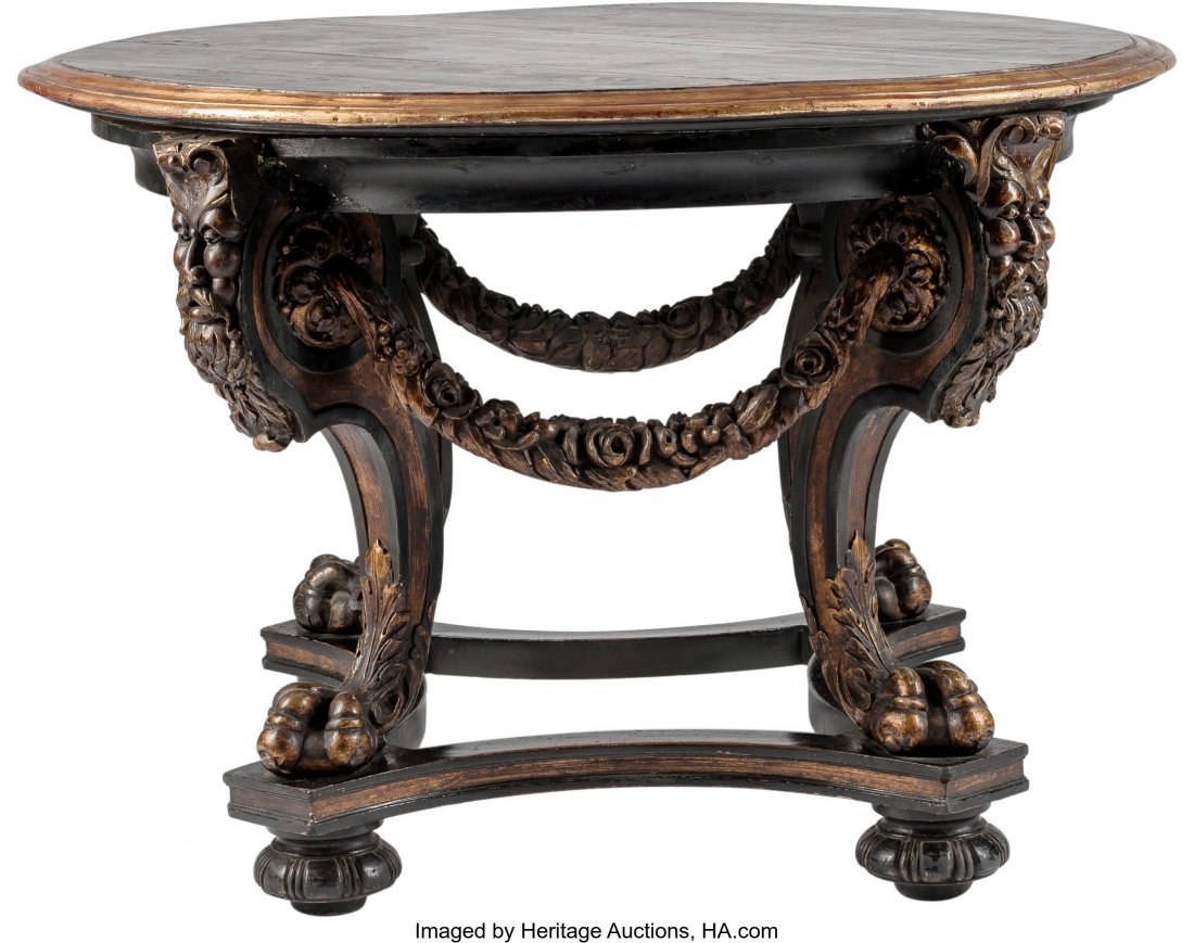 63226: A Baroque-Style Carved and Paint-Decorated Cente