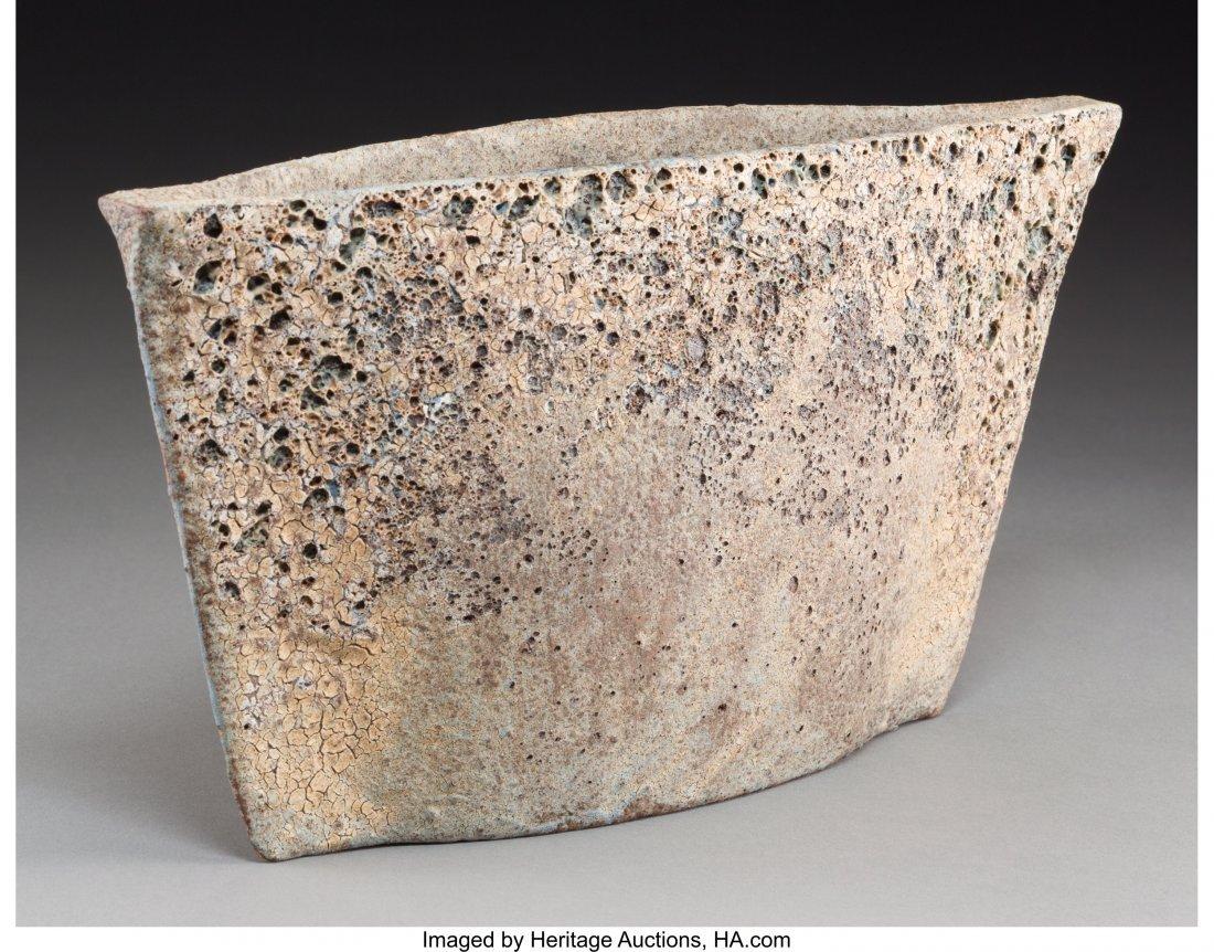 63311: A Paul Philp Slab-Built Stoneware Vase with Book