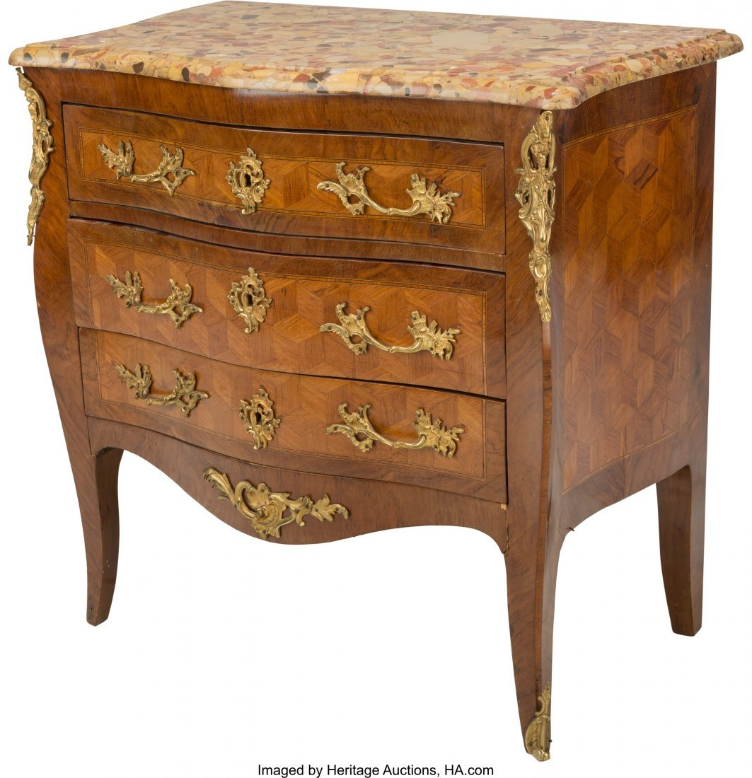 63385: A Louis XV-Style Gilt Bronze Mounted Parquetry C