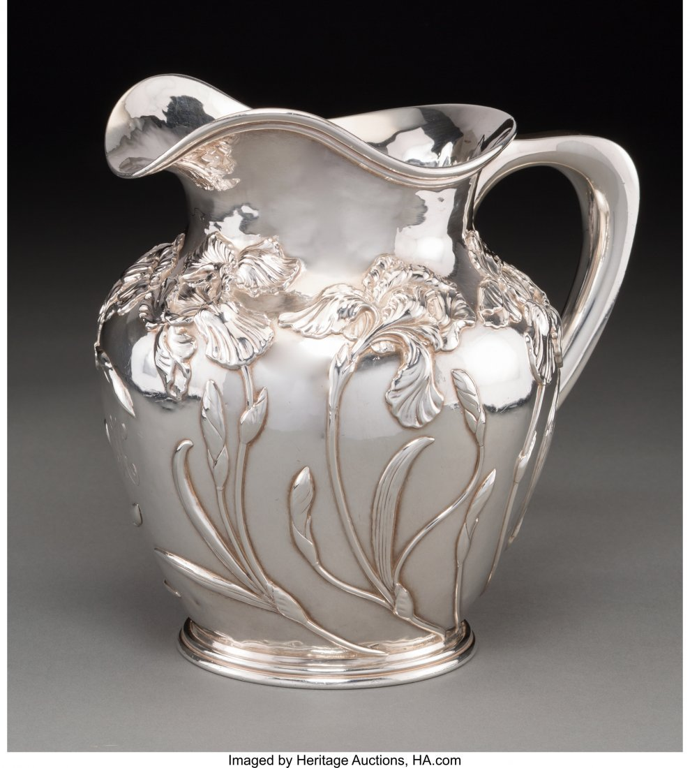 63141: A Shreve & Co. Silver Pitcher with Iris Motif, S