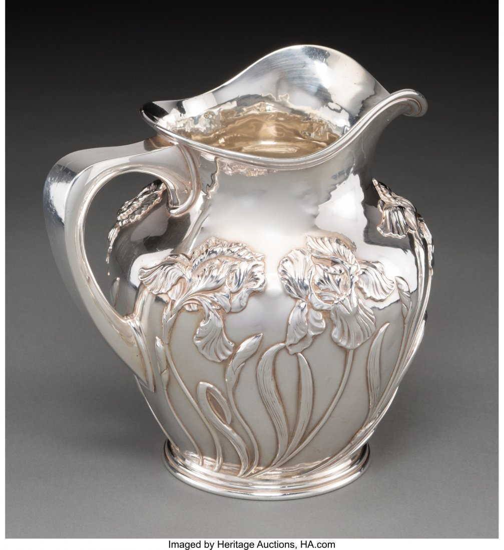 63141: A Shreve & Co. Silver Pitcher with Iris Motif, S - 2