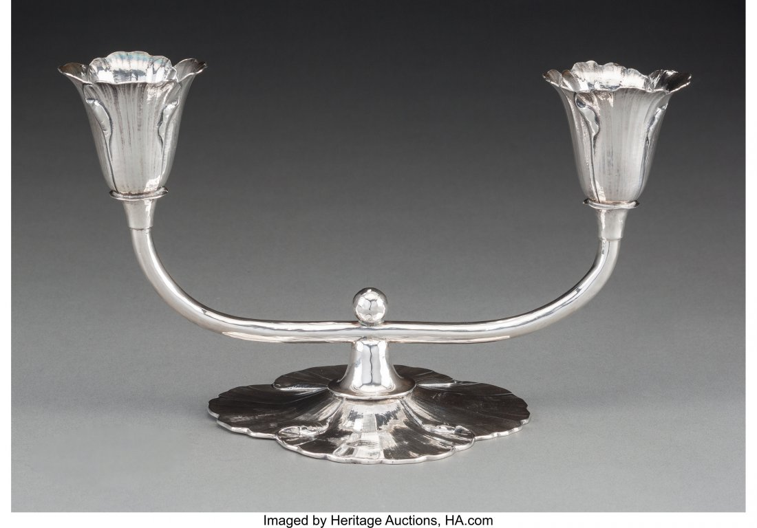 63142: A Clemens Friedell Silver Two-Light Floriform Po