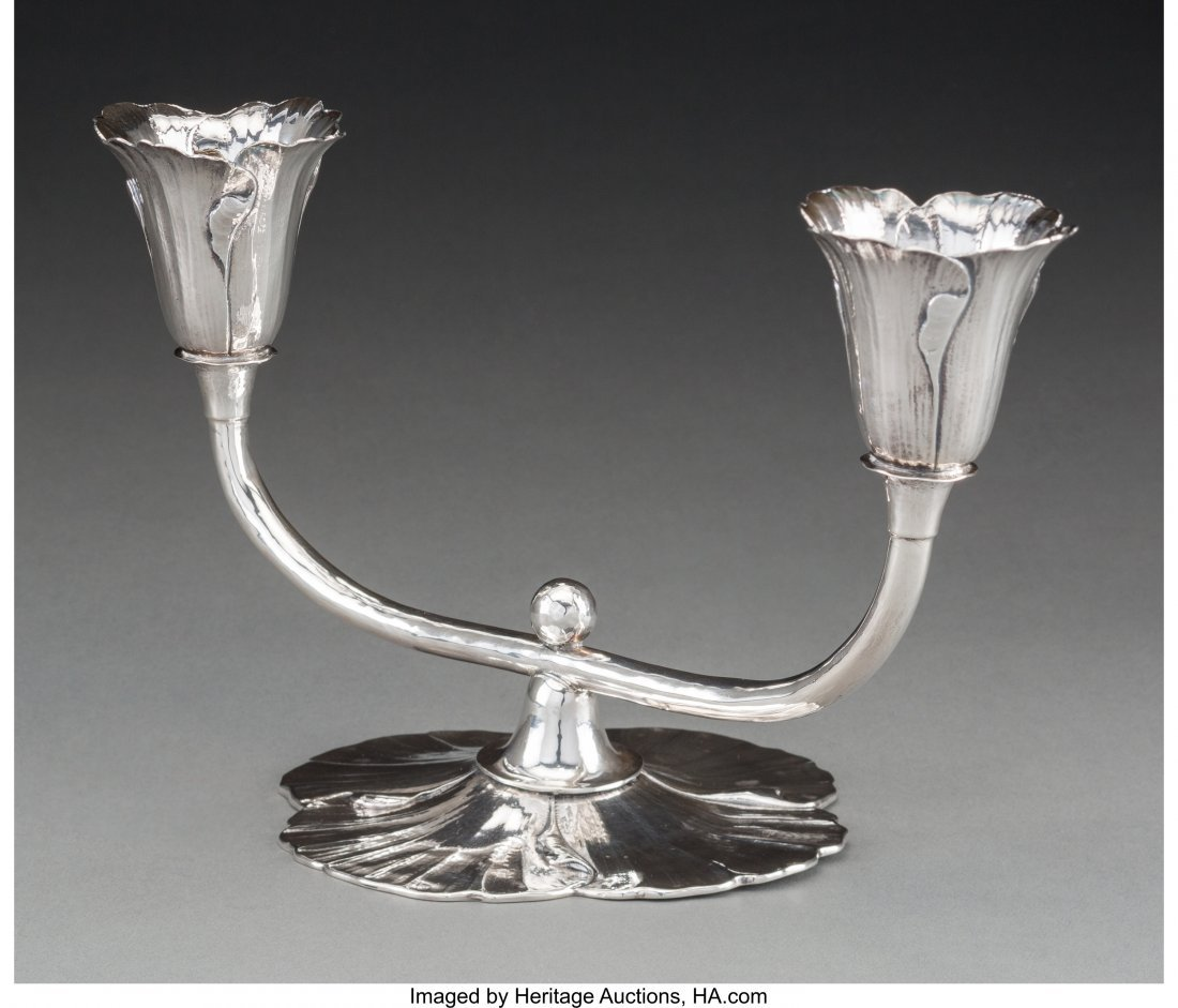 63142: A Clemens Friedell Silver Two-Light Floriform Po - 2