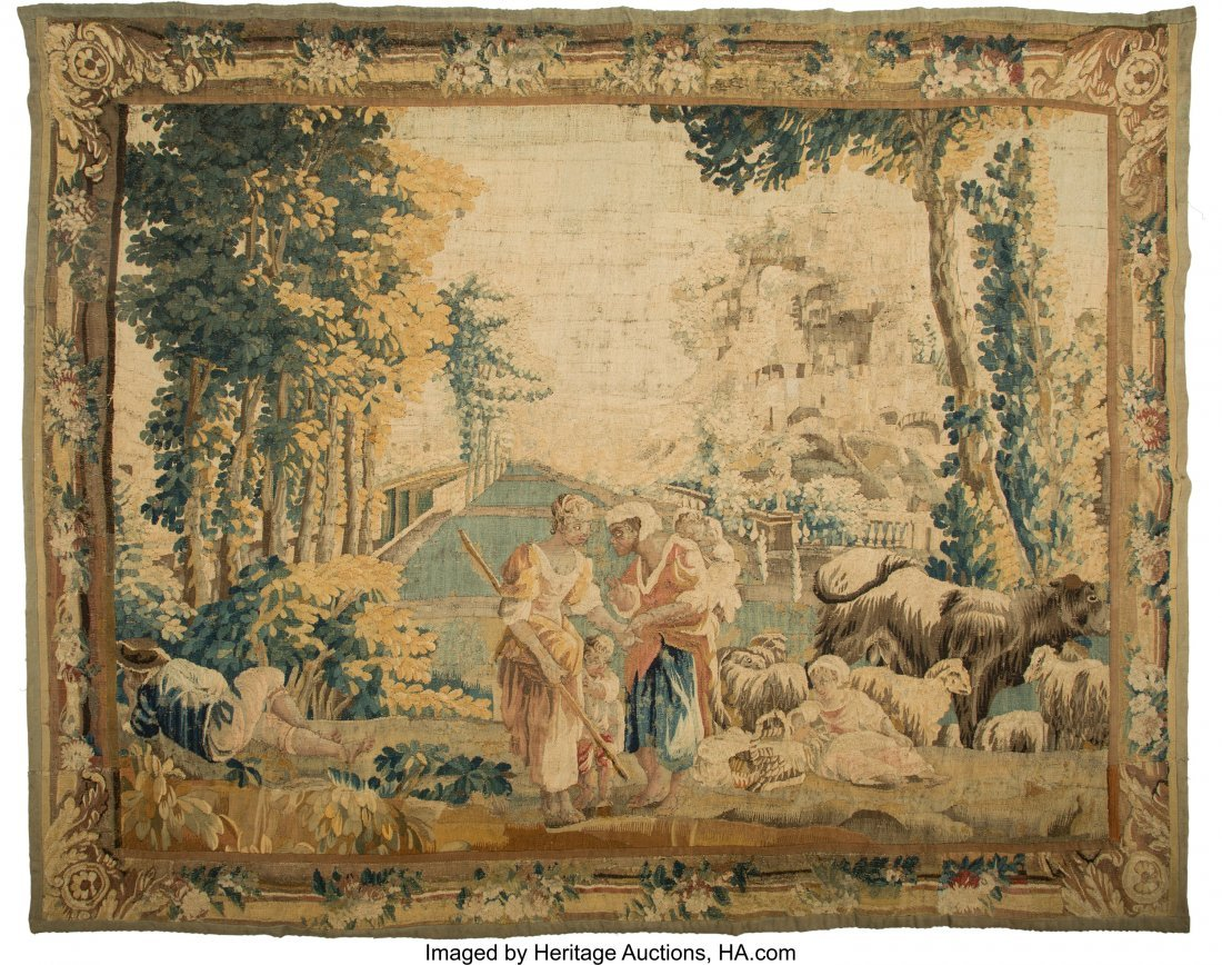 63387: A Flemish Wool Tapestry with Pastoral Scenery, 1