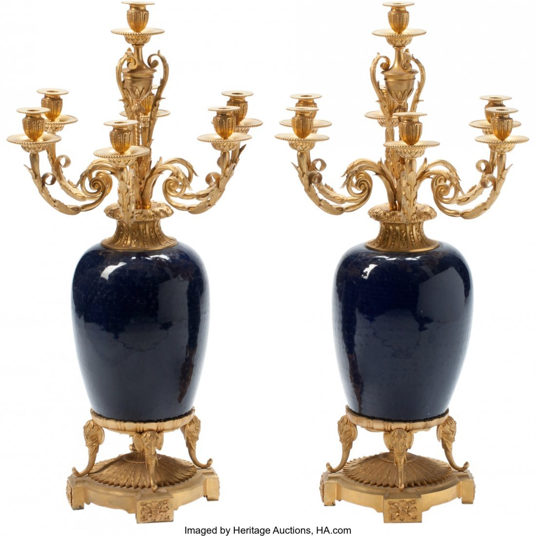 63231: A Pair of French Gilt Bronze and Porcelain Seven
