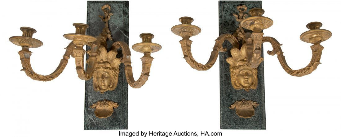 63232: A Pair of Empire-Style Gilt Bronze and Verde Mar