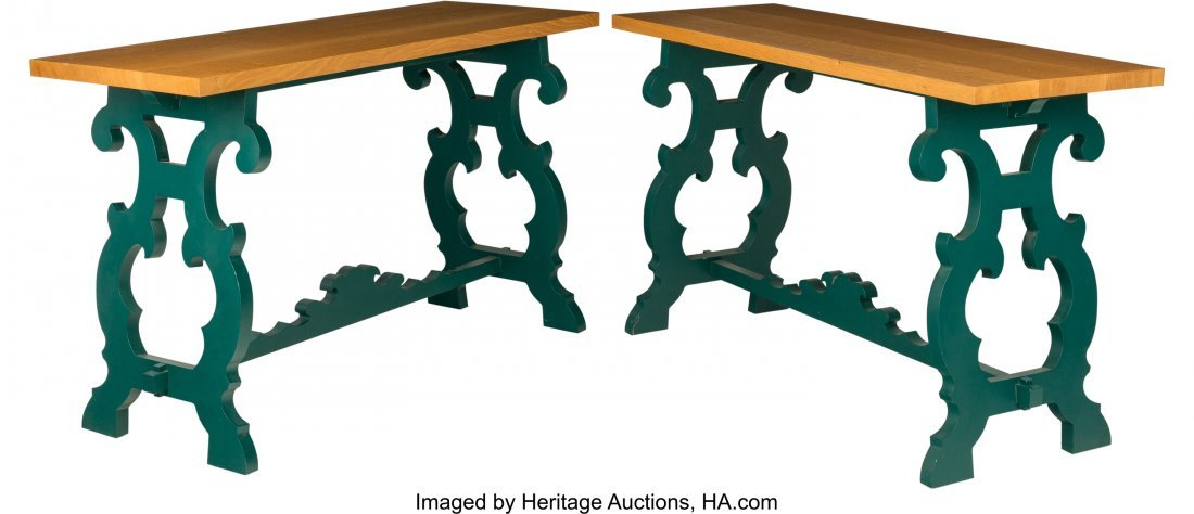 63315: A Pair of John Stefanidis Carved and Painted Oak