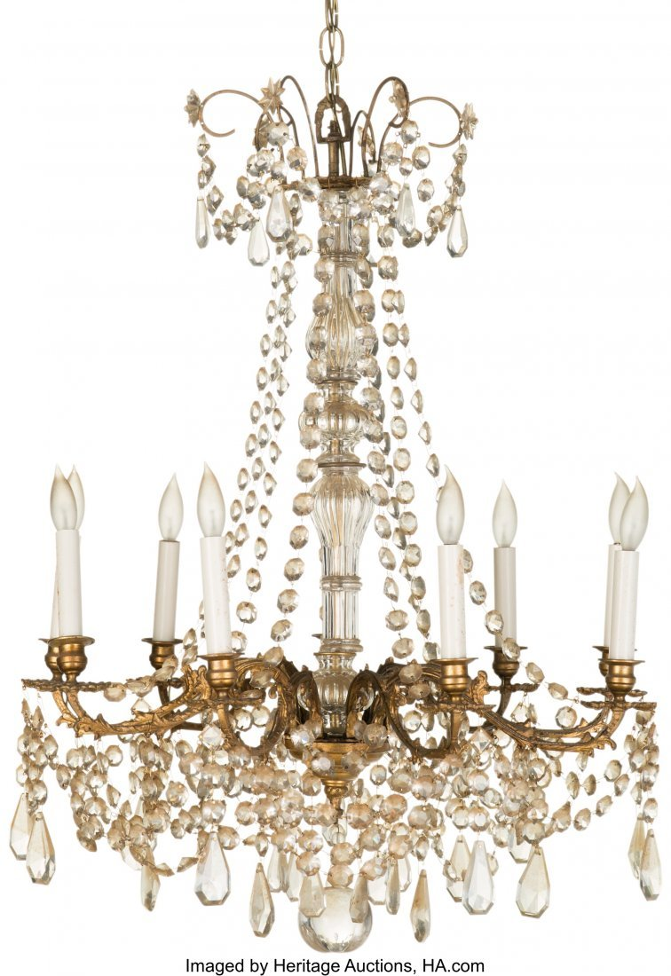 63389: A Louis XV-Style Gilt Bronze and Cut-Glass Nine-