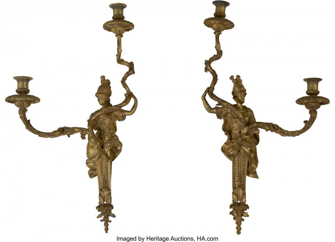 63235: A Pair of Empire-Style Gilt Bronze Two-Light Fig