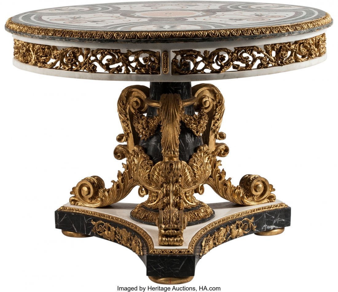 63236: A Louis XIV-Style Partial Gilt and Marble Inlaid