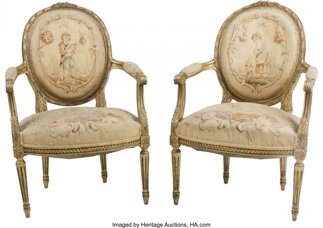 63391: A Pair of Louis XVI-Style Giltwood and Aubusson-