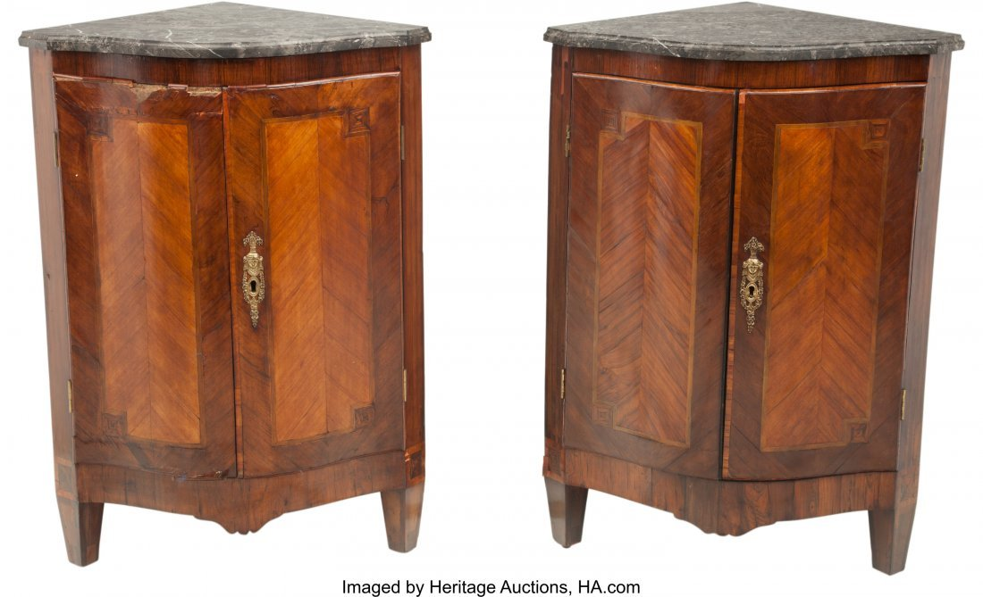 63242: A Pair of Louis XVI-Style Inlaid Corner Cabinets