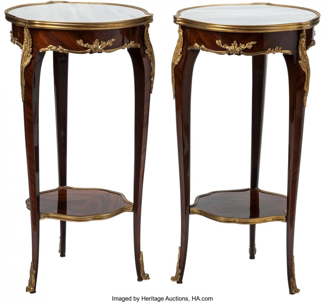 63395: A Pair of Louis XV-Style Mahogany and Gilt Bronz