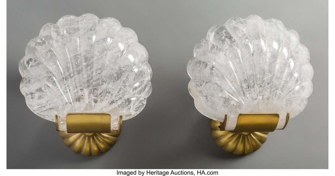 63323: A Pair of Carved Rock Crystal and Polished Bronz