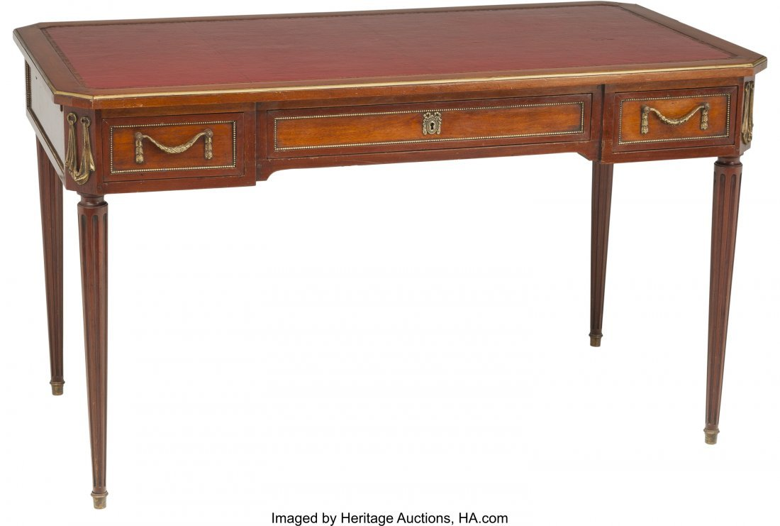 63397: A Louis XVI-Style Mahogany and Gilt Bronze Burea