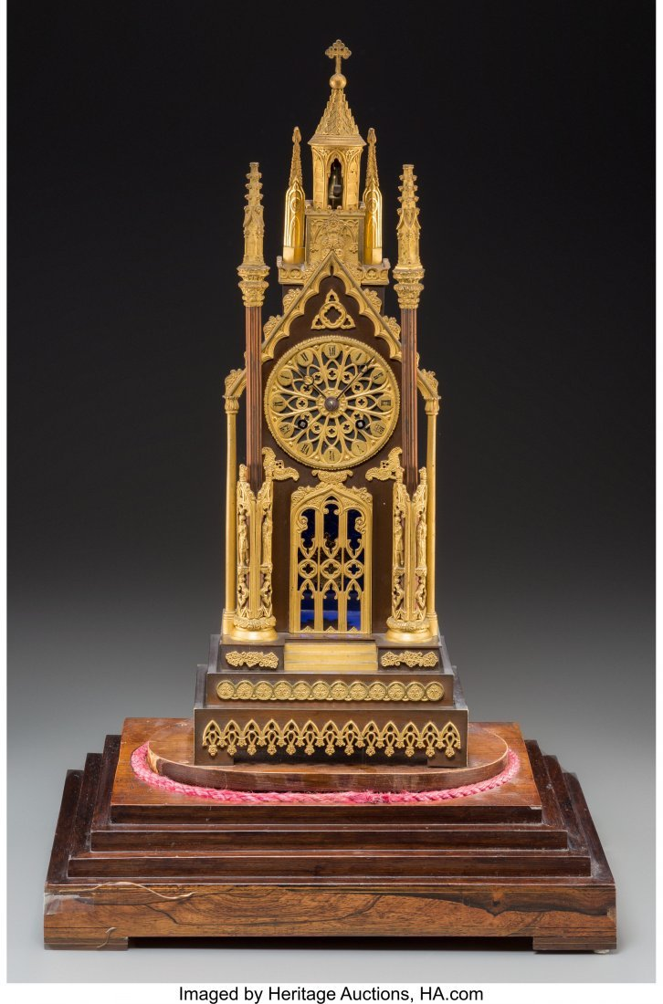 63077: A French Gothic Revival Gilt and Patinated Bronz